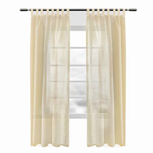 WOLTU VH5864sd-2, 2er Set Gardinen transparent mit Schlaufen Leinen Optik, Doppelpack lichtdurchlässige Vorhänge Stores Fensterschal für Wohnzimmer Kinderzimmer Schlafzimmer Küche, 140x225 cm Sand