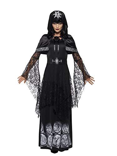 Magierin Kostüm Weiße - Smiffys 45570L - Damen Magisches Mätressen Kostüm, Kleid, Gürtel und Umhang, Größe: 44-46, schwarz