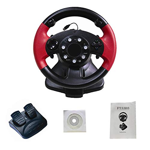 LLDHWX Juego de Volante de Carreras FT33 Serie 200 ° Volante con Pedales sensibles Vibración de Doble Motor para PS3 / PS2 / PC (D-Input/X-Input/Steam Computadora