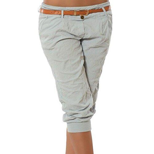 Juqilu Damen Chino Stoffhose Capri 3/4 Hose Kurze Sommer Bermuda Einfarbig Beiläufige Pants Kurze Hosen Streetwear S-5XL