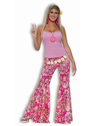 Unbekannt Karneval Hippie Schlaghose für Damen pink-bunt M / (Hippie Flower Child Adult Kostüm)