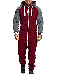 35bc977376 Huateng Zipper Up Hooded Mann Pyjamas 2 Fronttaschen Casual Schlafanzug  Jumpsuit…