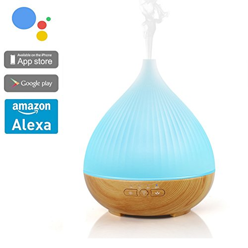 ACEMAX Smart Aroma Ätherisches Öl Diffusor Luftbefeuchter Arbeiten mit Alexa, funktioniert mit Google Home, Smart Phone Tabletten APP Control, kein Hub erforderlich, mit bunten Lichtern 4 Timer