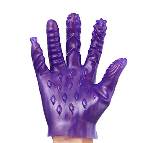 Sex Products Sex Magic Gloves for Sex Game Nipple Clitoris Stimulate Sex Toys Vagina Massage Gloves for Couple Sex Games,A Purple