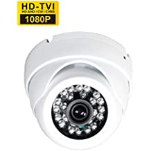 SKYVIEW HD 1080P Hybrid CCTV Camera, 2 Mega Pixel CMOS Sensor, TVI / CVI / AHD / CVBS 4 in 1, 3.6mm Fixed Lens and 24 IR LEDs, IP66 Waterproof Day/Night Vision IR Cut Security Camera - White (Default TVI Output))