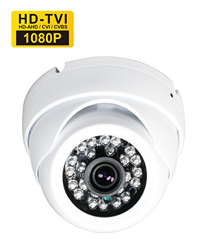 Galleria fotografica SKYVIEW HD 1080P Hybrid CCTV Camera, 2 Mega Pixel CMOS Sensor, TVI / CVI / AHD / CVBS 4 in 1, 3.6mm Fixed Lens and 24 IR LEDs, IP66 Waterproof Day/Night Vision IR Cut Security Camera - White (Default TVI Output))