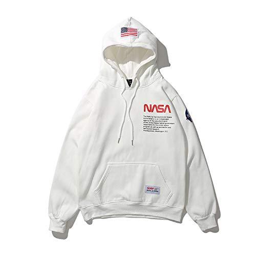 WMWZ NASA Logo Sweatshirt Herren Damen Unisex Hoodie Weiß/Schwarz Fashion Hooded mit Känguru-Tasche,White,M Logo Hoodie Weiß