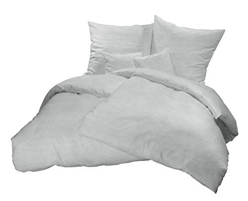 Leichte Bügelfreie Sommer-Bettwäsche in Uni Farben! Kühlende und pflegeleichte Seersucker Bett-Bezüge aus 100% Baumwolle mit Reißverschluss - 135 x 200 cm, Grau