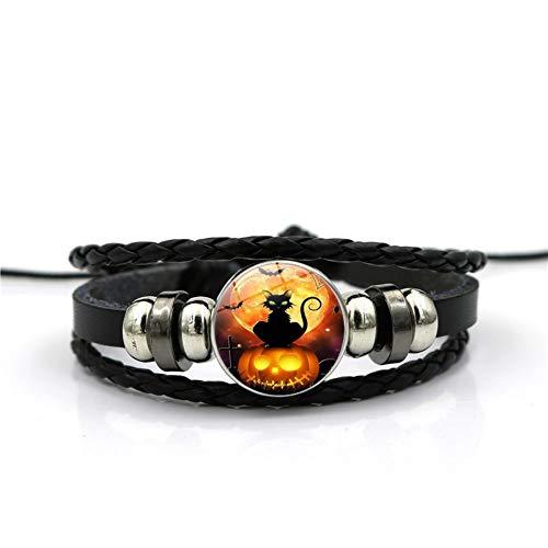 YUANOMSL Armband Halloween Kürbis Katze Tier Zeit Edelstein Armband Mehrschichtig Gewebt Schwarzem Leder Handgefertigt Perlen Europäischen Und Amerikanischen Persönlichkeit Mode J