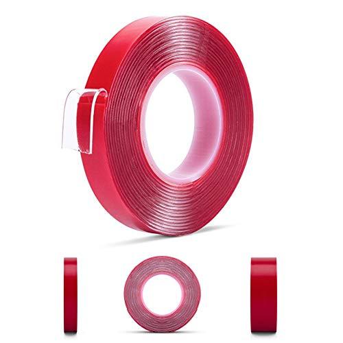 INTVN Montage Klebeband Heavy Duty Doppelseitiges Acryl Klar Klebebänder für Holz Glas Metall Kunststoff 2 Stück (12 mm x 3 m & 25 mm x 3 m) Klar-glas
