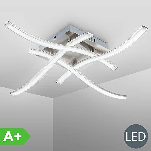 Plafoniera LED da soffitto, lampada moderna con bracci luminosi per l'illuminazione da interno, luce calda, LED integrati 4x3,4W 4x350Lm, metallo color nickel opaco, dimensione 47,5x47,5cm 230V IP20