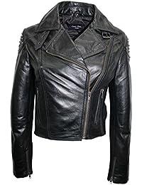'SKULL STUDDED' 2740 Ladies BLACK Women's Studs Biker Rock Real Nappa Leather Jacket