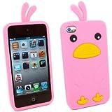 Kit Me Out FR Coque aspect velouté silicone pour Apple iPod Touch 4 (4e génération) - rose motif poulet mignon