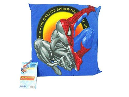 CUSCINO SPIDER-MAN 42X42 CM DIVANO LETTO CAMERA ARREDO BIMBO PRODOTTO UFFICIALE