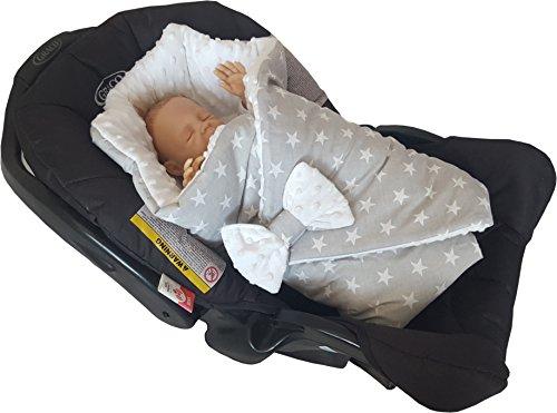 BlueberryShop Doubleface für AUTOSITZ Wickeldecke, Decke, Schlafsack für Neugeborenes Fleece Baumwolle ( 0-3m ) ( 78 x 78 cm ) Weiß Star