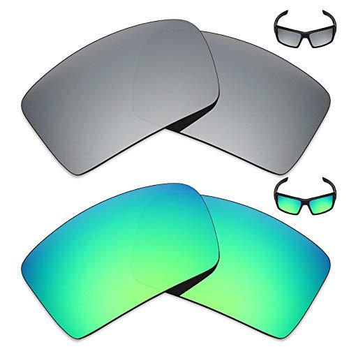 MRY 2Paar Polarisierte Ersatz Gläser für Oakley Augenklappe 2Sonnenbrille-Reiche Option Farben, Silver Titanium & Emerald Green