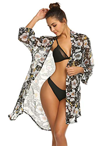 Balancora Damen Strandkleid Florale Kimono Cardigan Strand Chiffon Bluse Tops Bikini Cover up Schwarz - Floral Kimono Top