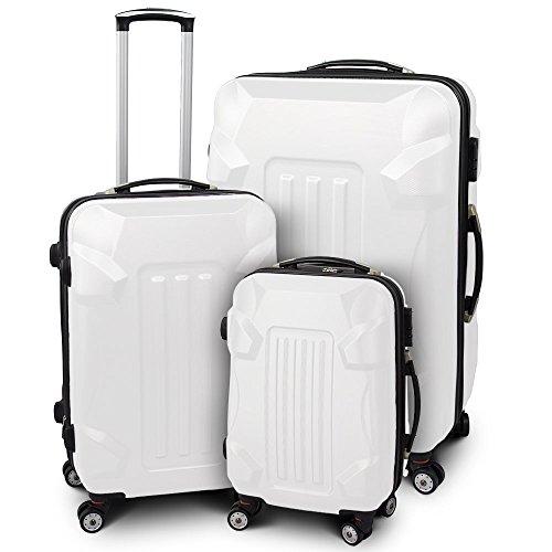 Kofferset 3-teilig Reisekoffer Trolley Hartschalenkoffer ABS Teleskopgriff Modell 'Armor' (Weiß)