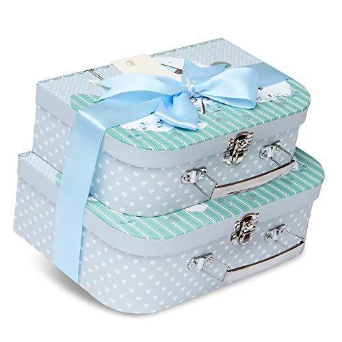 Caja de recuerdos - 2 cajas azules con cinta de satén y etiqueta de mensaje para bebé niño