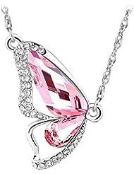 Le Premium - Collar con dije de capullo quebrado mariposa con cristal swarovski rosa claro + caja de regalo