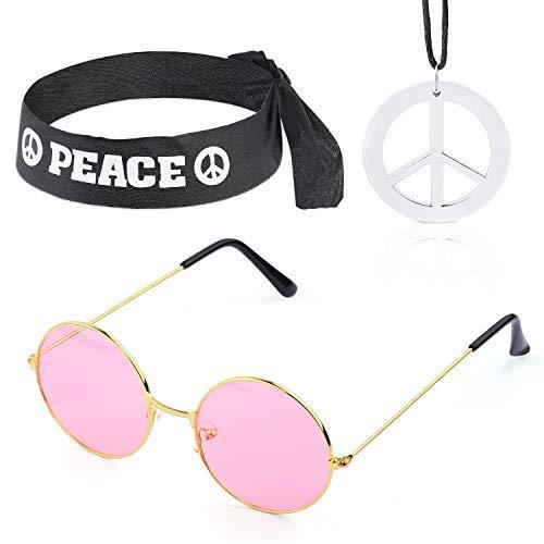 IAOAAO Hippie-Kostüm Set - 60er Jahre Kreis Brille Friedenszeichen Halskette Hippie Stirnband 60er Jahre Party-Zubehör-Kit (Mode Kostüm Männer)