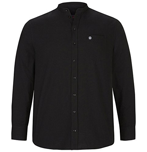 Jan Vanderstorm Herren Stehkragen Hemd Kallu Farbe Schwarz Größe 41/42 (L)