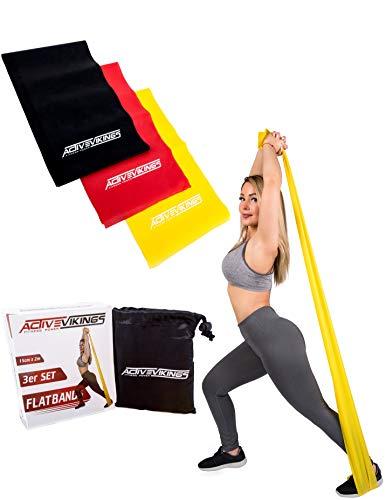 ActiveVikings Fitnessbänder Set 3-Stärken 2m Länge Ideal für Muskelaufbau Physiotherapie Pilates Yoga Gymnastik und Crossfit | Fitnessband Gymnastikband Widerstandsbänder