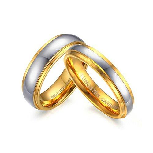 jsfyou sposa doppio scanalature lucido acciaio inossidabile coppia Promessa anello, donne dimensione 16,5 & uomini dimensione 24,5, colore: Silver Gold, cod.