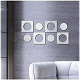 Banggood ELECTROPRIME 8pcs Square Circle Mirror Removable Decal Mural Wall Sticker Decor Silver