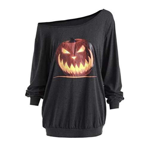 UFACE Frauen Diagonal Schulter Halloween Kürbis Print Top T-Shirt Plus Size Langarm Halloween Wütend Kürbis Skew Neck T-Shirt Bluse Tops(Grau,L)