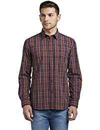 Parx Checkered Slim Fit Cutaway Collar Full Sleeve Shirts