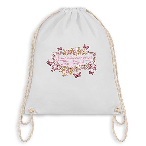 JGA Junggesellinnenabschied - Team Braut Schmetterlinge Blumen - Turnbeutel I Gym Bag Weiß