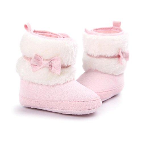 FEITONG Baby Bowknot Warme weiche Sohle Schnee Aufladungen weiche Krippe Kleinkind Schuhe (0 ~ 6 Monat, Weiß) Rosa