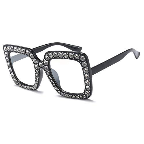 WERERT Sportbrille Sonnenbrillen Luxury Designer Big Crystal Sun Glasses Square Shades Women Oversized Sunglasses Retro Top Rhinestone