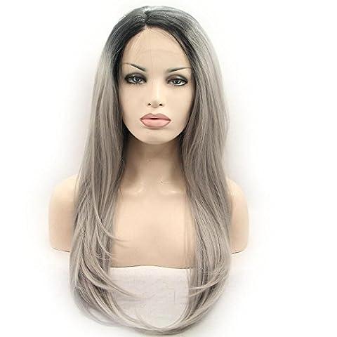 SHKY ombre graue synthetische Spitze Front Perücke Hitze resistente natürlich schwarzes Haare Perücke für Frauen , 22