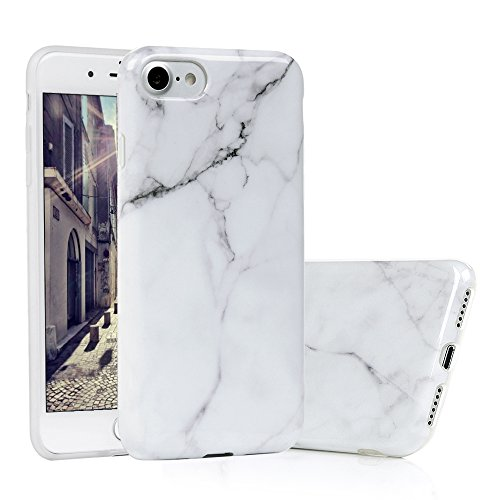 iPhone 7 Handyhülle Marmor, KASOS iPhone 8 Hülle : Protective Case TPU Silicone mit IMD Technologie Design, Grau und weiß Marble