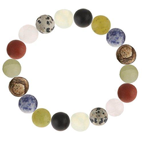 Multicolor Edelstein-Armband aus Achat Onyx Jade Jaspis Karneol Calcit Sodalith Kugel mattiert dehnbar