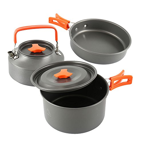 Camping Cookware for 2 People Outdoor Cooking Set Equipment Lightweight Non Stick Cookware Kit With Kettle Teapot And Pans With Mesh Bag (3 pieces of one set)