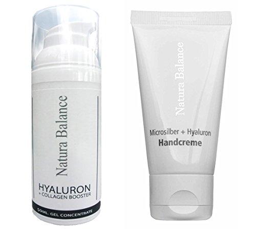 SET 50ml Hyaluron Collagen BOOSTER Aloe Vera Gel + 50ml Handcreme Microsilber Hyaluronsäure