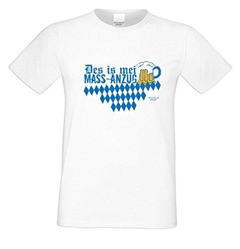 Geschenkidee Geburtstagsgeschenk Shirt T-Shirt Herren Männer Des is mei Mass - Anzug kurzarm Farbe: weiss Weiß