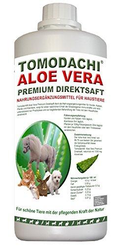 Aloe Vera Saft, BARF Zusatz für Hunde, Premium Direktsaft, reines Naturprodukt ohne chemische Zusätze, Tomodachi Aloe Vera Premium Direktsaft aus dem Innengel frischer Aloe-Vera Pflanzen gewonnen, 500 ml Flasche (Poly 500-ml-flasche)
