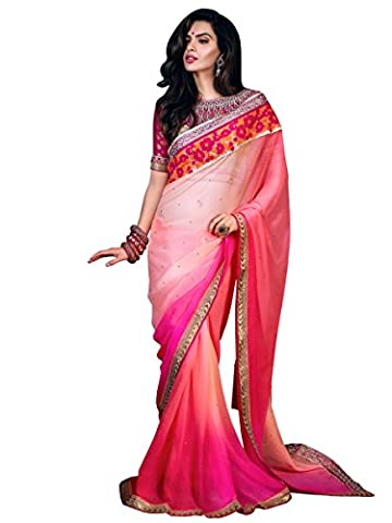 Stylee Lifestyle Pink Chiffon Embroidered Saree
