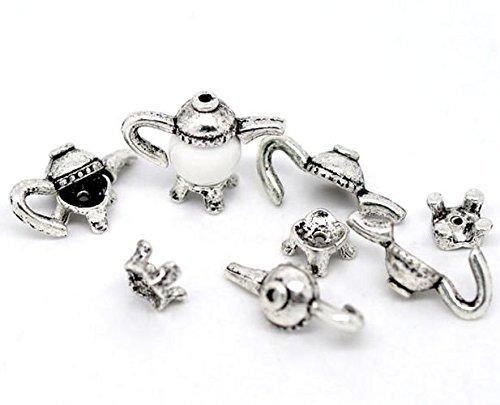 5 Stück Endkappe Kanne Kessel Antiksilber (für 8-10mm Perlen) Modeschmuck -