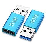 SKYEE Adattatore USB Tipo C, 2 Pezzi Adattatore USB 3.0 a USB C, Alluminio Adattatore USB 3.1 Tipo C connettori, USB-C Femmina a USB 3.0 Maschio Adattatore per Ricarica&Dati Trasmissione-Blu