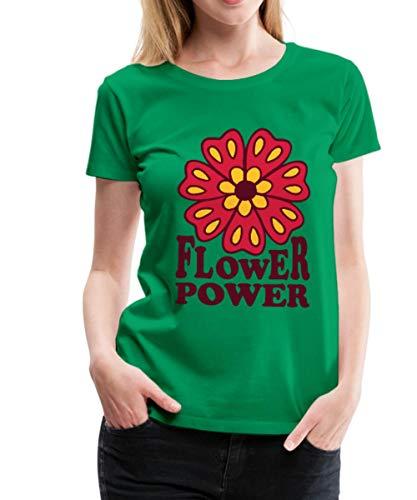 Spreadshirt Flower Power Blume Frauen Premium T-Shirt, M (38), Kelly Green - 70er-jahre-kelly-grün