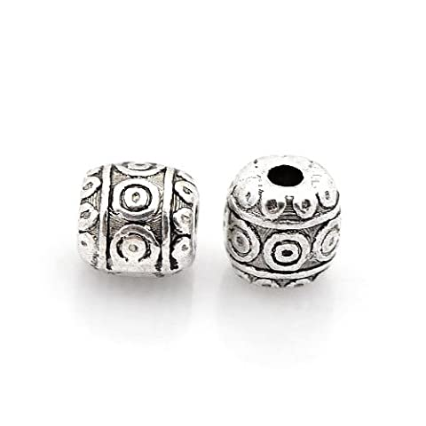 Packet of 30 x Antique Silver Tibetan 6mm Barrel Spacer Beads - (HA17330) - Charming Beads