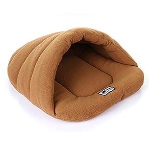 Addfun Pet Bed, reg;Luxury Pet Nest Half Covered Soft Cozy Sleeping Bag Mat for Dogs Cat Rabbit,Brown