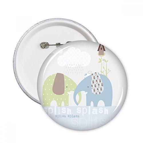 DIYthinker Splash Elefant Blau Grün Regen Runde Stifte Abzeichen-Knopf Kleidung Dekoration Geschenk 5pcs Mehrfarbig L