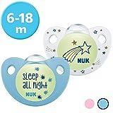 Nuk Trendline Night & Day Schnuller mit Leuchteffekt, 6-18 Monate, Silikon, BPA-frei, Blau, 2 Stück