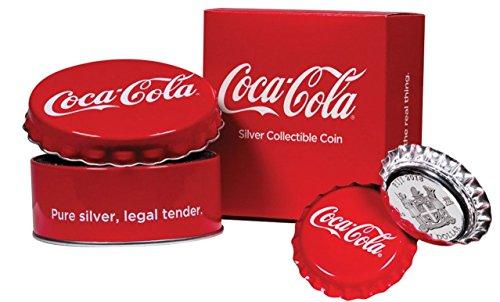 Coca-Cola©-Münze |Erfrischungsgetränk |Fiji Inseln |Silber mit Farbauflage | 1 Dollar |Polierte Platte -